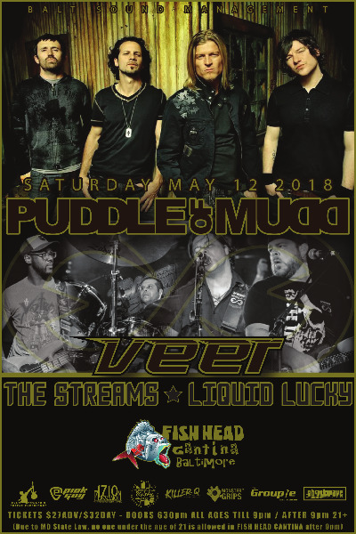 Poster Image - Supporting 'Puddle Of Mudd' 2018 at Fishhead Cantina